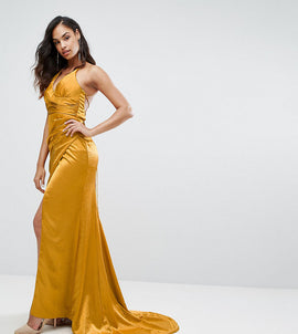 Bariano Drape Satin Gown With Strappy Back - Gold