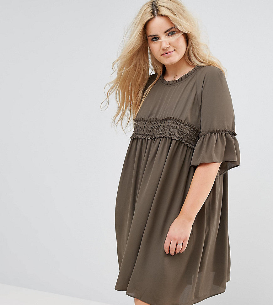 ASOS CURVE Shirred Smock Dress - Khaki