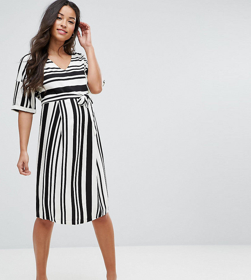 Mamalicious Stripe Wrap Dress - Multi