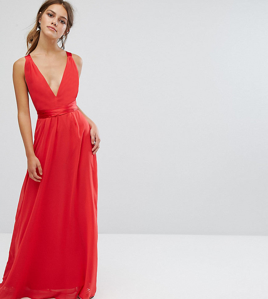 ASOS PETITE Satin Tie Back Maxi Dress - Red