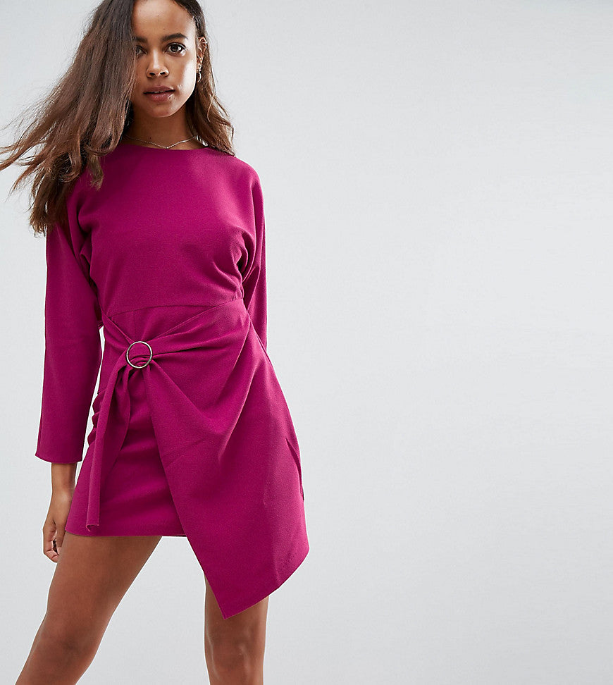 ASOS PETITE Batwing Mini Dress with Wrap Skirt - Purple