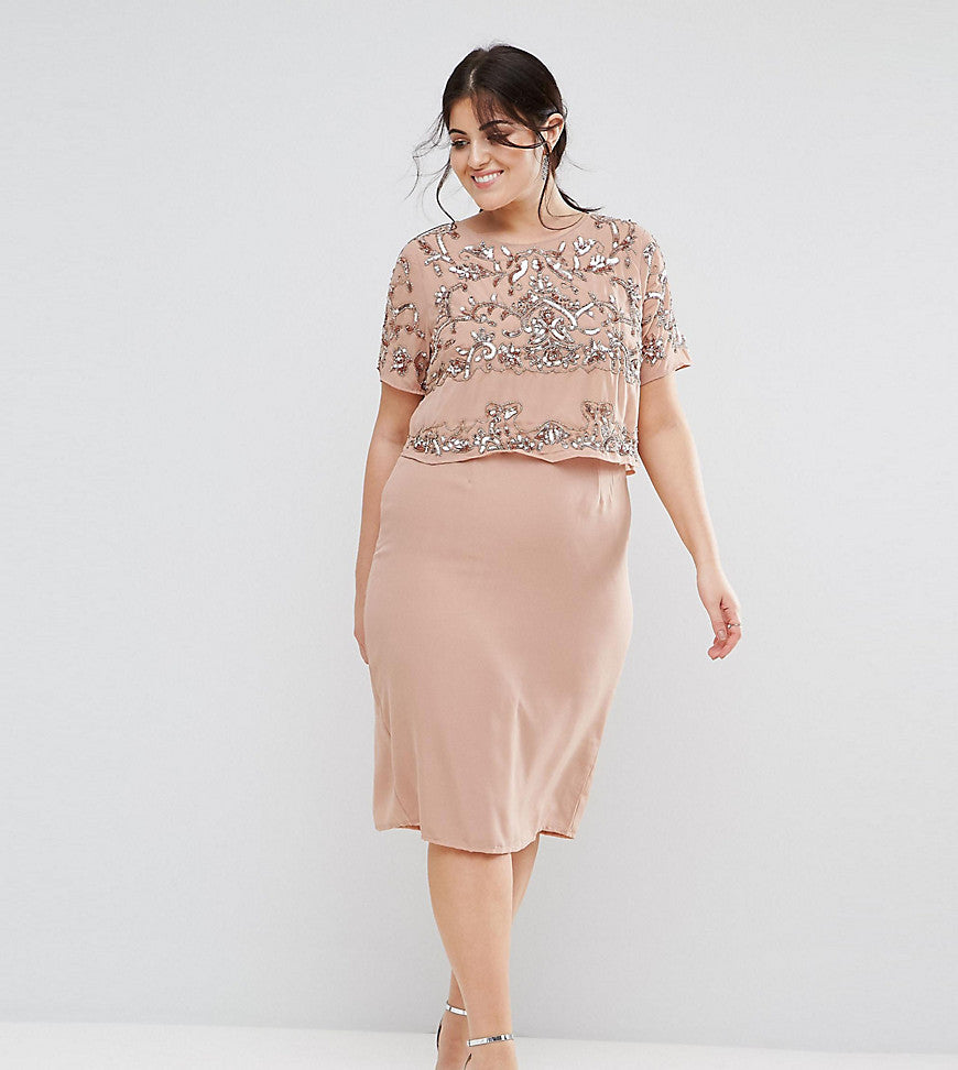 Lovedrobe Luxe Double Layer Embellished Shift Dress - Mauve