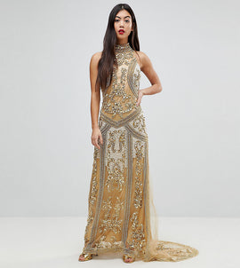 A Star Is Born Petite High Neck Maxi Dress With Allover Embellishment In Pattern - Gold
