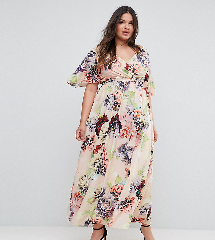 ASOS CURVE WEDDING Print Soft Flutter Sleeve Maxi Dress - Multi