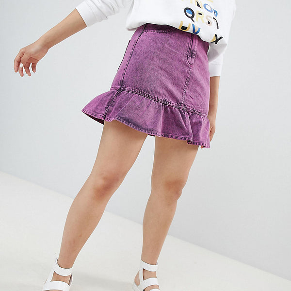 Monki Acid Wash Ruffle Denim Skirt - Pink