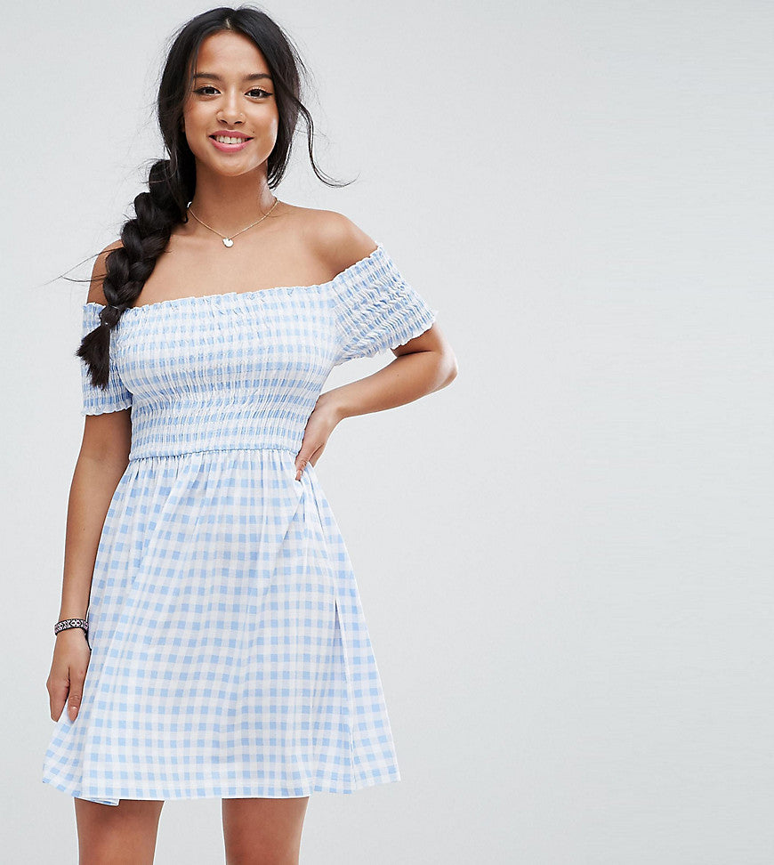 ASOS PETITE Off Shoulder Sundress with Shirring in Gingham - Pale blue/white