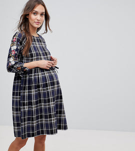 New Look Maternity Check Embroidered Smock Dress - Blue pattern