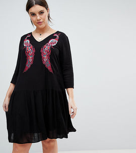 Junarose Embroidered Smock Dress - Black