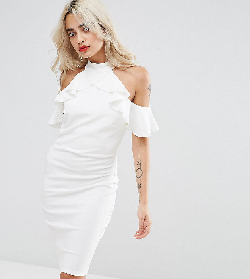 City Goddess Petite Pencil Dress With Ruffle Detail - White