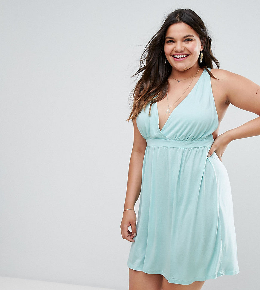 ASOS CURVE Halter Mini Dress - Pale blue