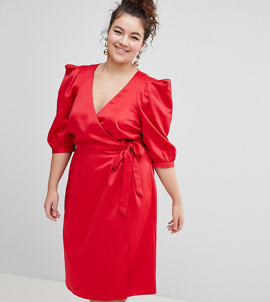 ASOS DESIGN Curve wrap dress with tie detail - Red