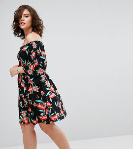 ASOS CURVE Shirred Bardot Mini Dress With Trumpet Sleeve In Floral Print - Floral print