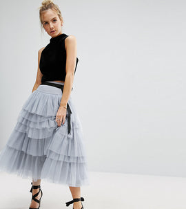 ASOS PETITE Tulle Midi Prom Skirt with Tiers and Tie Waist - Grey