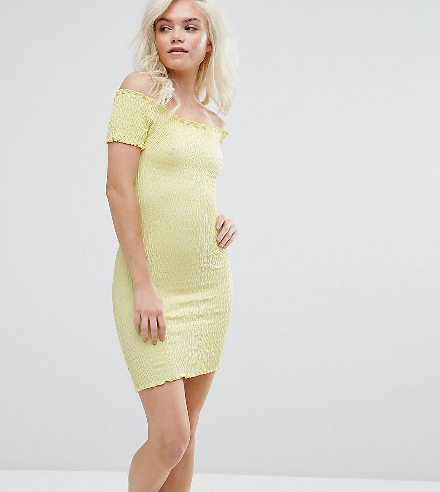 ASOS PETITE Bardot Bodycon Mini Sundress in Shirring - Yellow