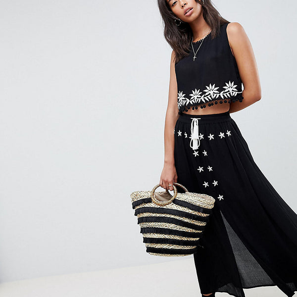 Glamorous Tall Embroidered Skirt With Tassle Ties Co-Ord - Black