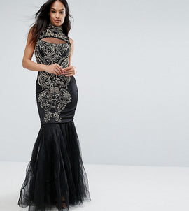 A Star Is Born Embellished Fishtail Maxi Dress With High Neck - Black/gold