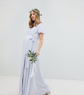 09f4a450fca85 TFNC Maternity Wrap Maxi Bridesmaid Dress With Tie Detail And Puff Sleeves  - Ice