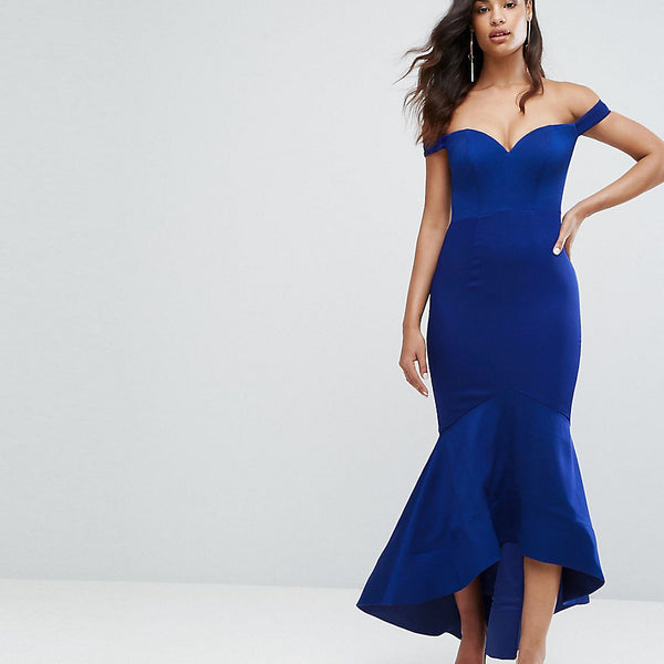 Bariano Off Shoulder Sweetheart Maxi Dress - Rich indigo
