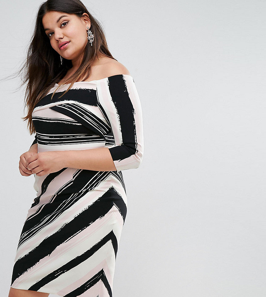 Coast Plus Colombus Bardot Striped Pencil Dress - Multi