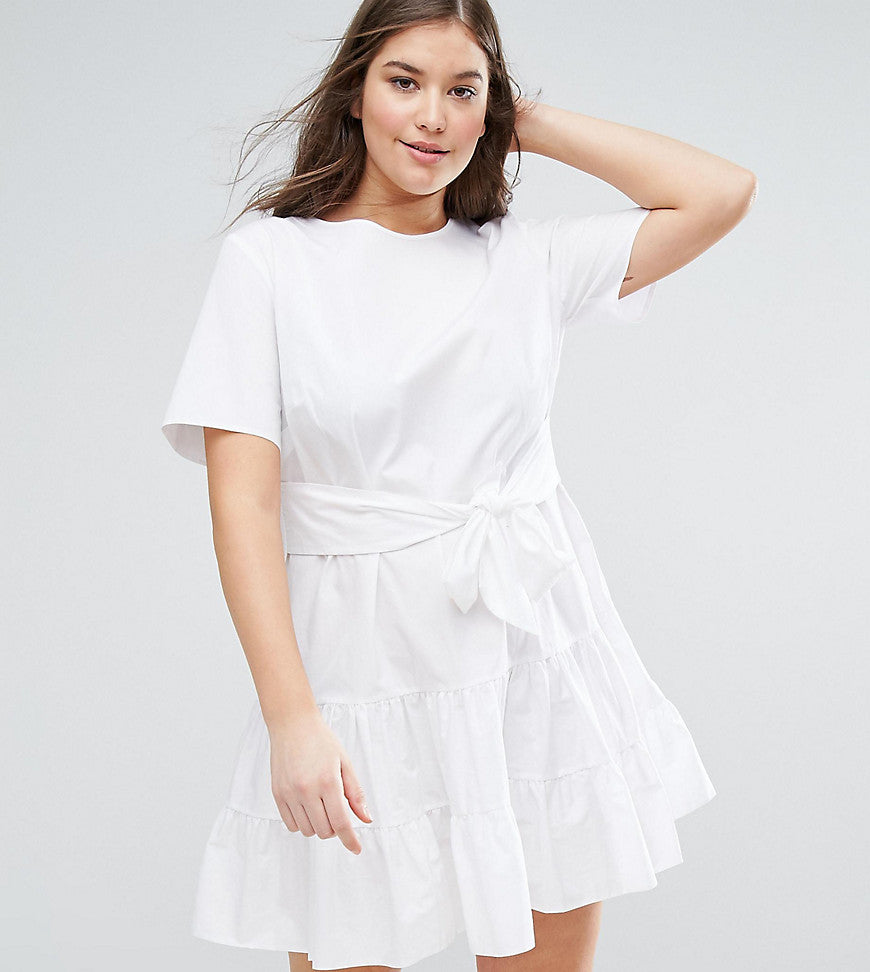 ASOS CURVE Tiered Cotton Mini Dress - White