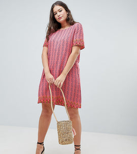 Glamorous Curve Shift Dress In Aztec Print - Coral