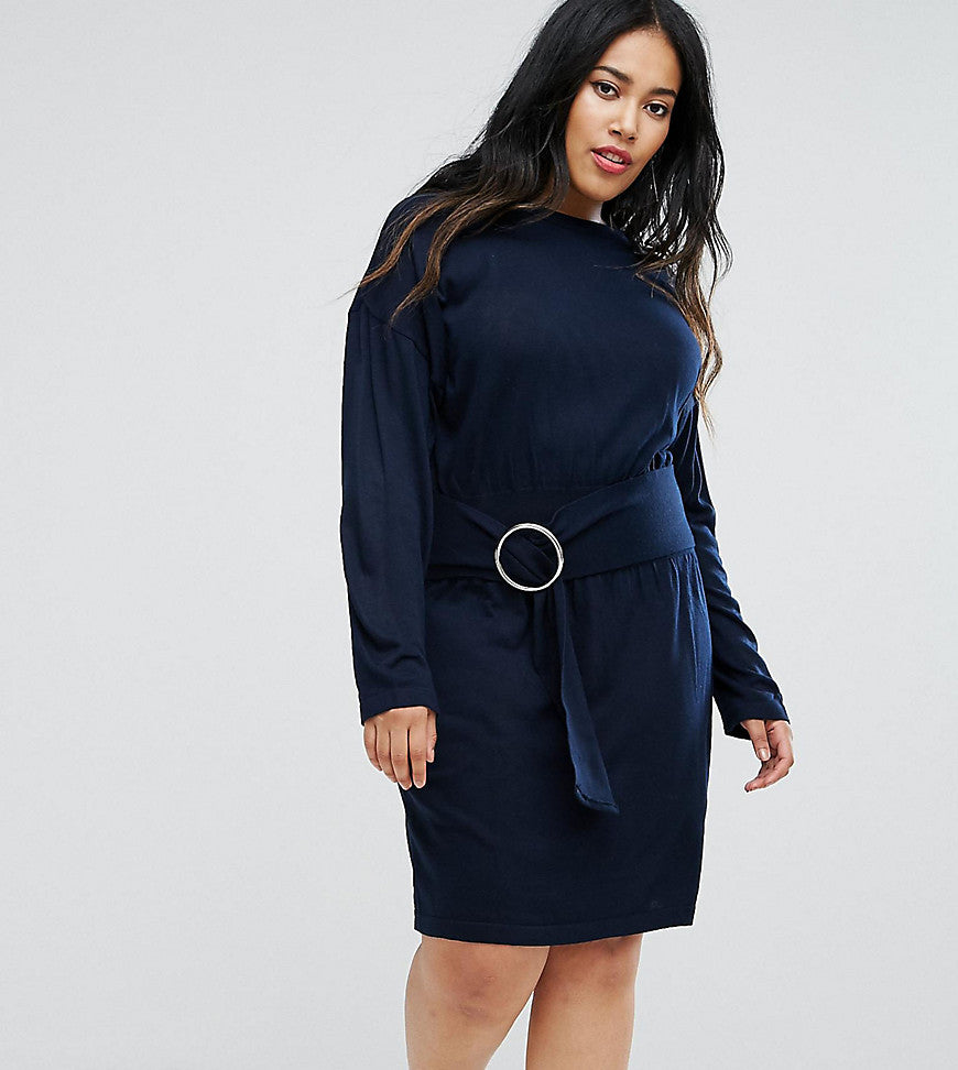 ASOS CURVE Knitted Dress With Batwing And Ring Detail - Navy