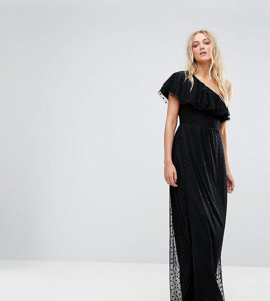 John Zack Tall One Shoulder Maxi Dress In Dotty Mesh - Black
