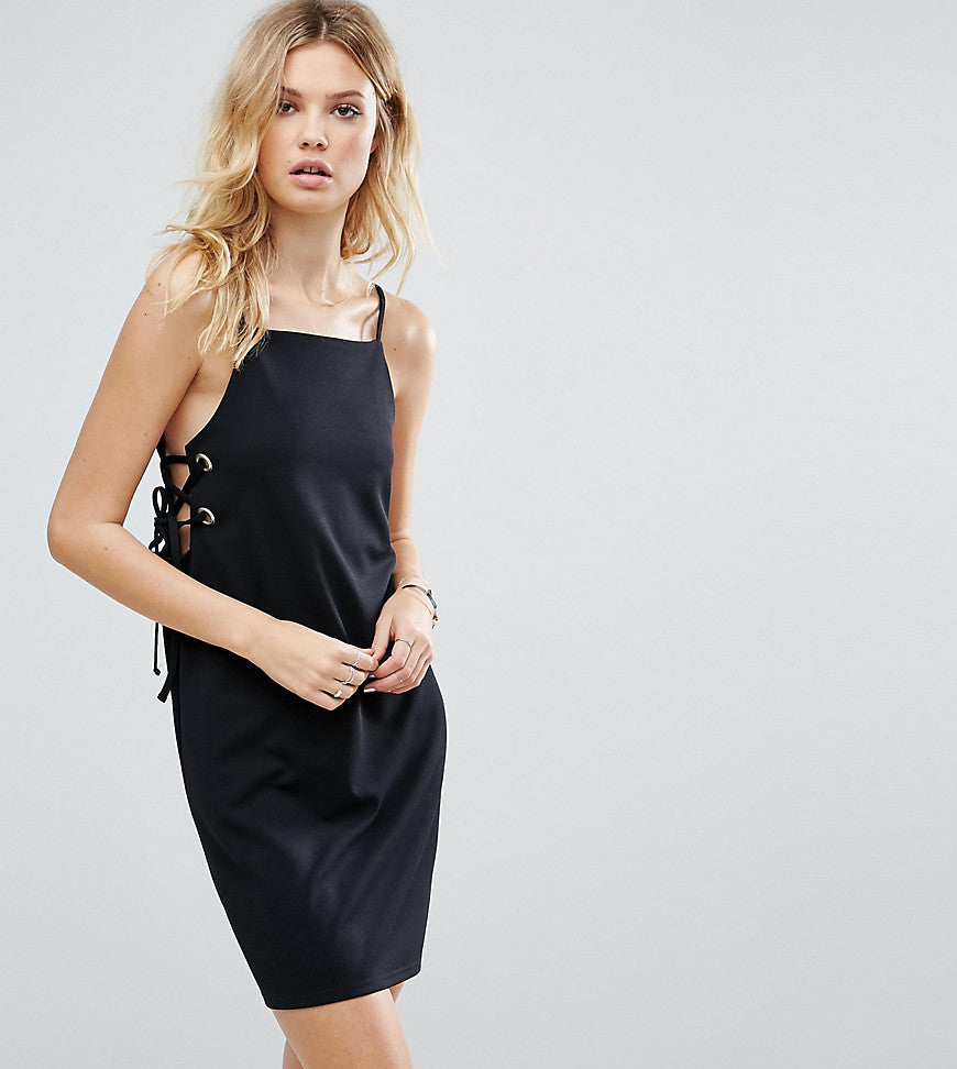 ASOS TALL Mini Dress With Lace Up Eyelet Waist - Black