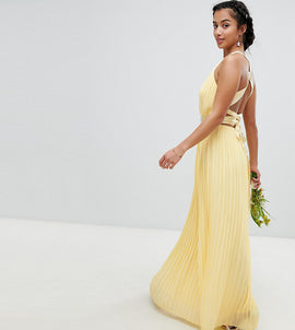 TFNC Petite Pleated Maxi Bridesmaid Dress with Cross Back and Bow Detail - Pastel yellow