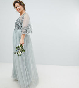 80595deb344 Maya Plus Sequin Cape Tulle Skirt Maxi Bridesmaid Dress - Green lily. ASOS