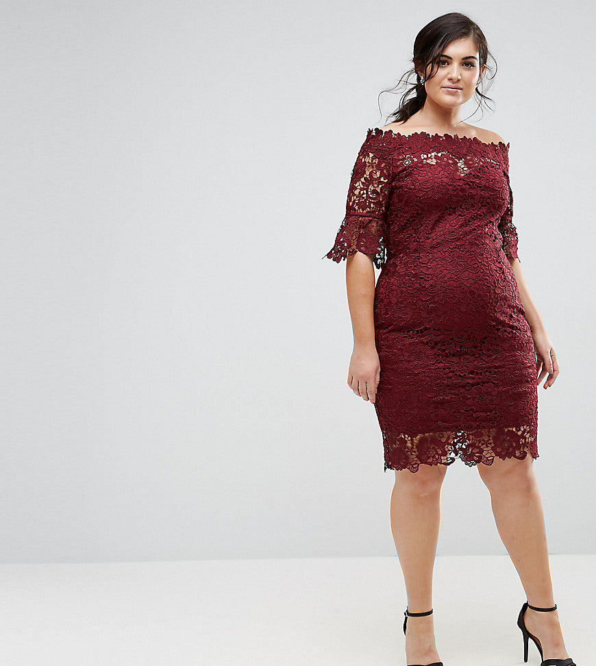 Paper Dolls Plus Off Shoulder Crochet Dress with Frill Sleeve - Burgundy