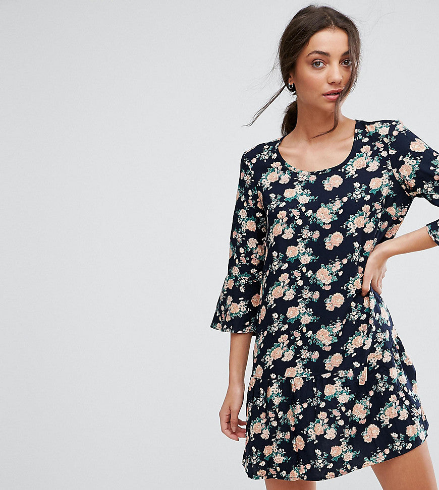 Y.A.S Tall Shanti 3/4 Sleeve Floral Print Dress - Navy blazer with flo