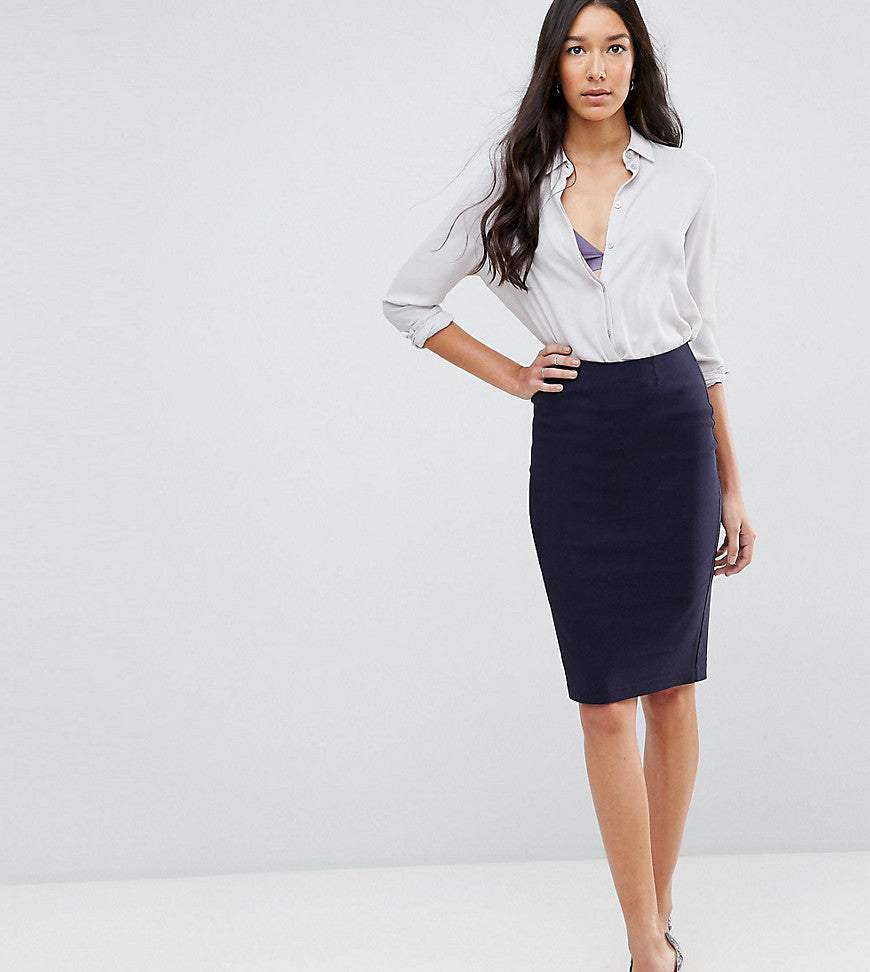 ASOS TALL High Waisted Pencil Skirt - Navy