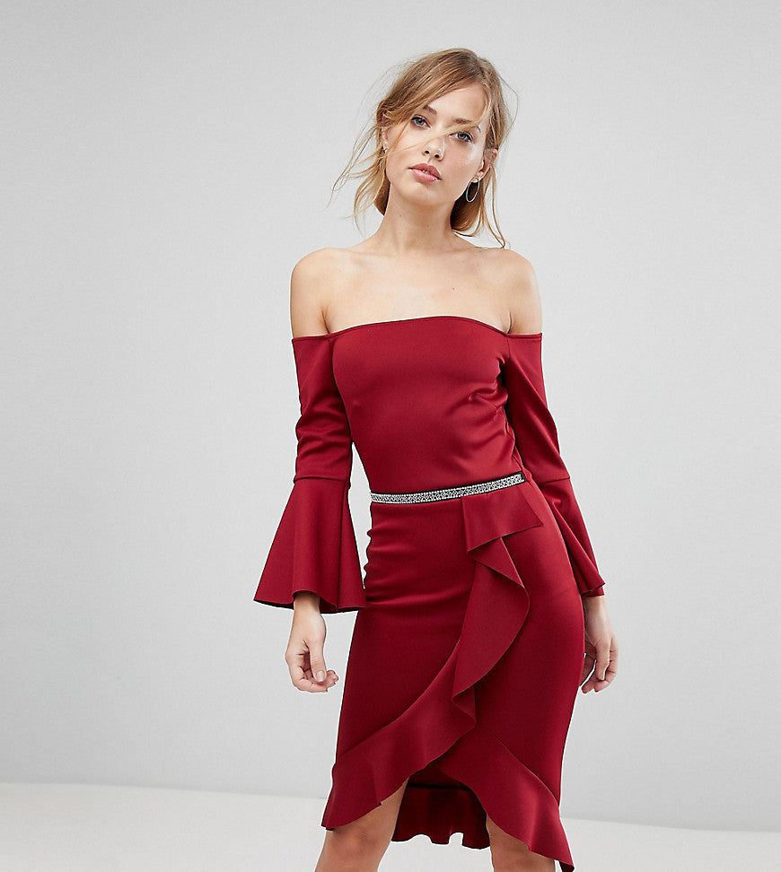 Silver Bloom Scuba Frilled Bodycon Midi Dress - Wine