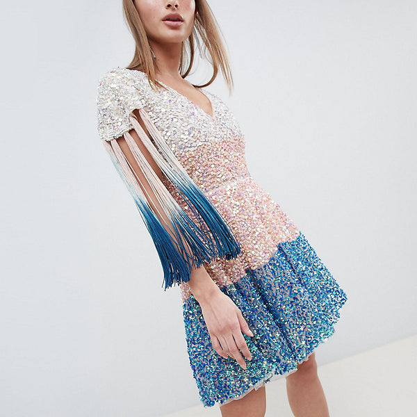 A Star is Born Petite Embellished Skater Dress in Dip Dye Effect - Multi