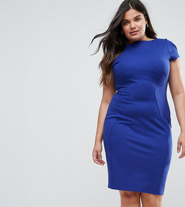 Closet London Plus Pencil Dress With Ruched Cap Sleeve - Cobalt
