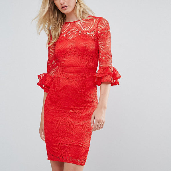 Little Mistress Tall All Over Lace Pencil Dress With Fluted Sleeve Detail - Red