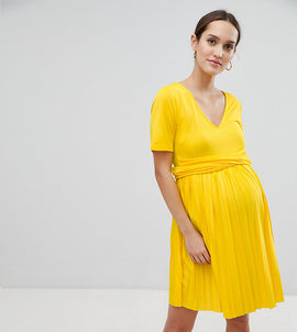 ASOS DESIGN Maternity pleated skater dress with wrap waist - Yellow
