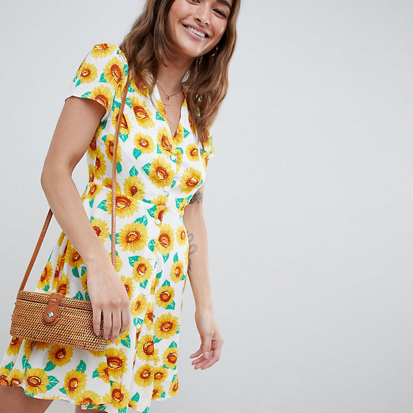 Glamorous Petite Button Down Tea Dress In Sunflower Print - Sunflower print
