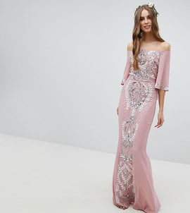 Maya Tall All Over Embellished Bardot Maxi Bridesmaid Dress With Fluted Sleeves - Vintage rose