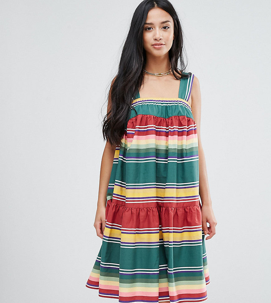 ASOS PETITE Smock Sundress in Summer Stripe - Multi