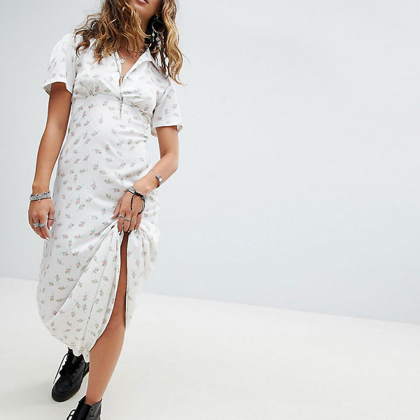 Sacred Hawk Maxi Shirt Dress In Floral - White