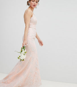 Chi Chi London Petite Bridal Premium Lace Maxi Dress with Fishtail - Nude