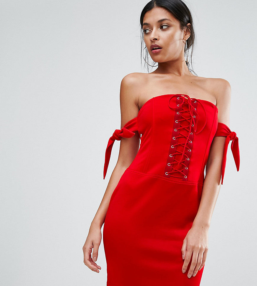 Club L Bandeau Detailed Lace Up Detail Dress - Red