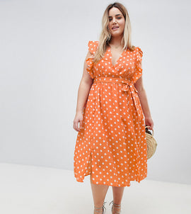 Glamorous Curve Sleeveless Midi Dress With Flutter Sleeves In Polka Dot - Dusty peach dot
