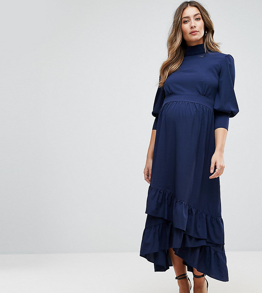 GeBe Maternity Maxi Dress With Frill Detail - Navy