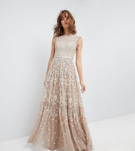 Needle & Thread High Neck Maxi Gown with Embroidery and Embellishment - Beige