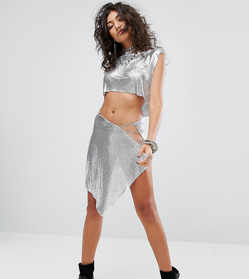 Sacred Hawk Chainmail Mini Skirt - Silver chain mail