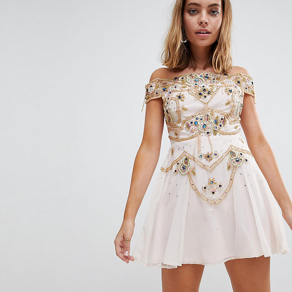 Frock And Frill Petite Premium Embellished Bardot Bodice Mini Skater Dress - Nude