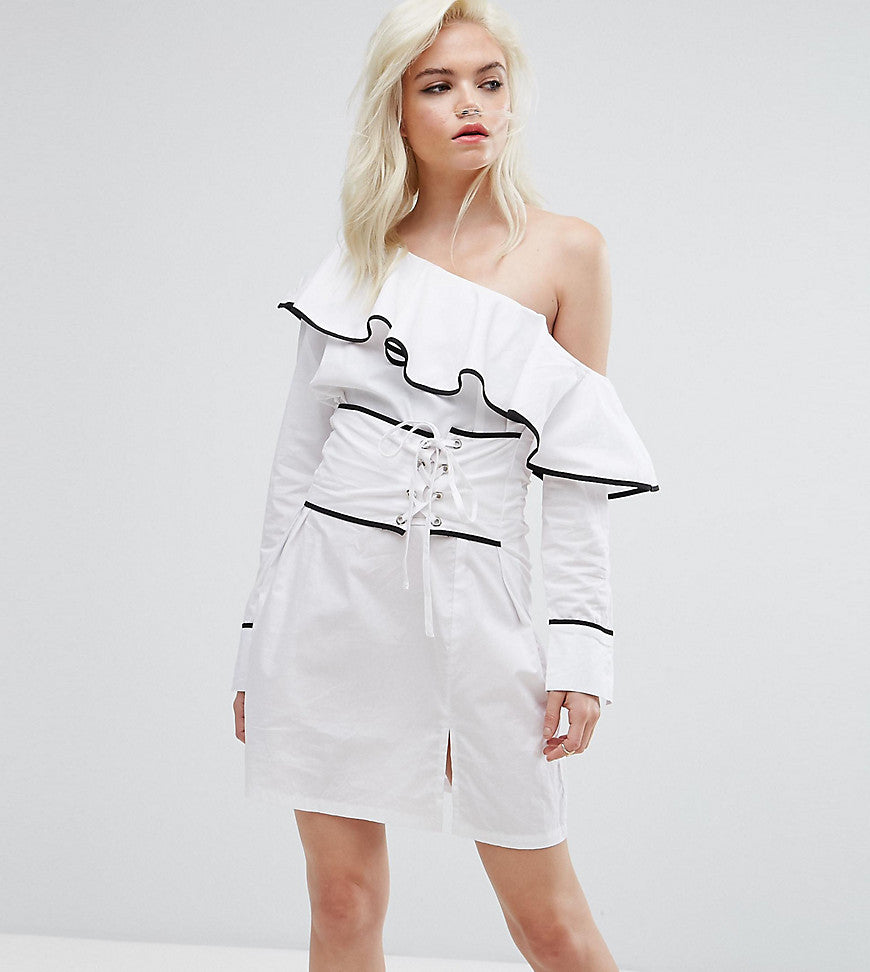 Missguided Petite One Shoulder Corset Dress - White